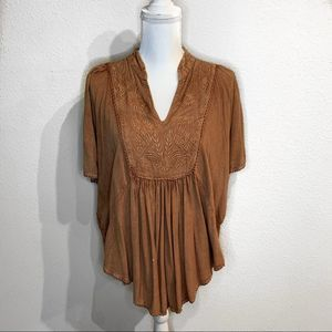 rust colored boho batwing top